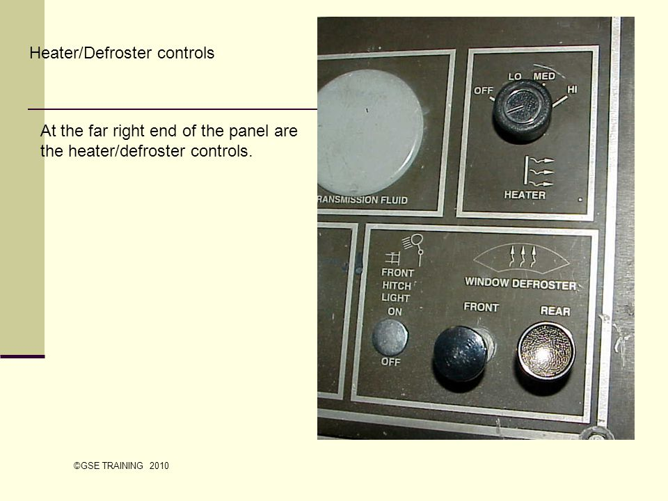 Heater/Defroster controls