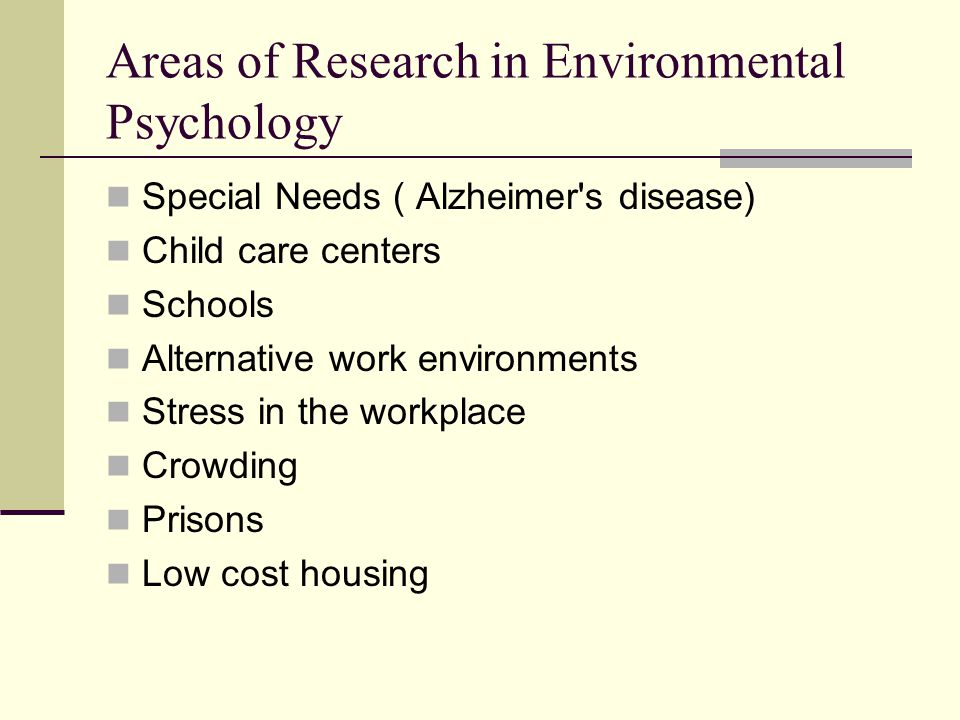 Areas of Research in Environmental Psychology