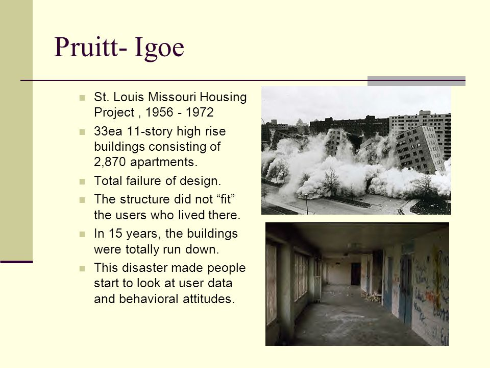 Pruitt- Igoe St. Louis Missouri Housing Project , 1956 - 1972