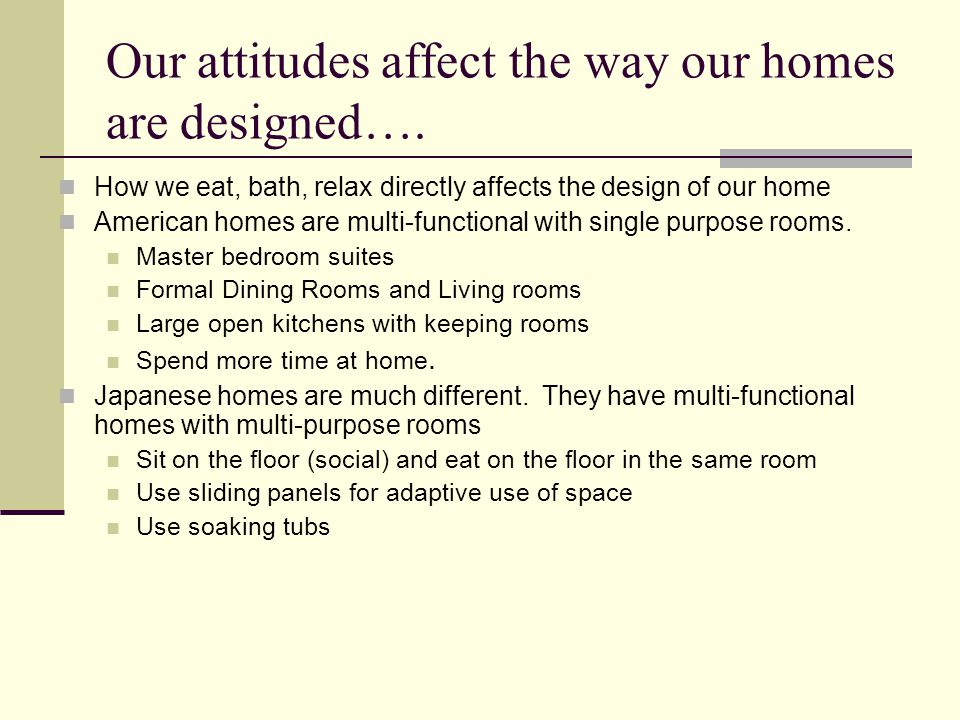 Our attitudes affect the way our homes are designed….