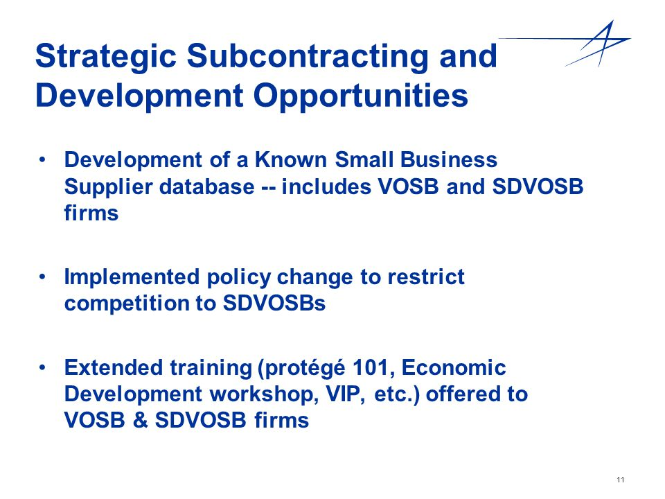 Strategic Subcontracting and Development Opportunities