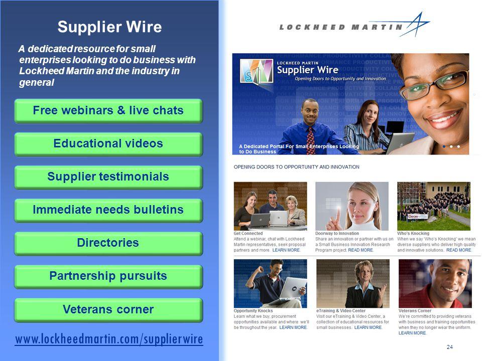 Supplier Wire www.lockheedmartin.com/supplierwire
