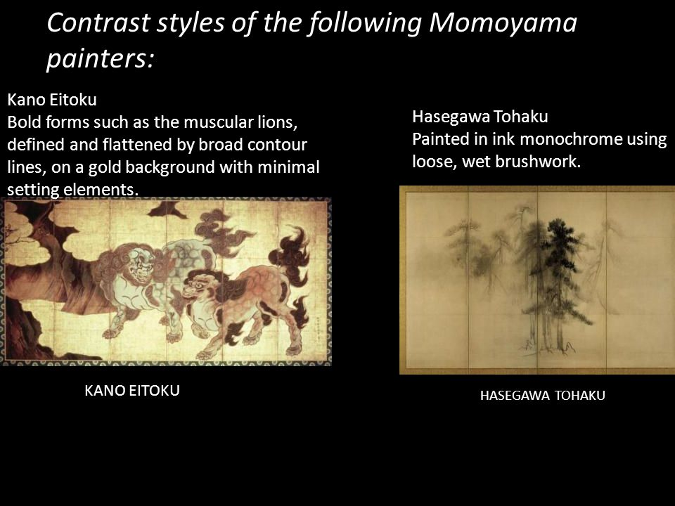 Contrast styles of the following Momoyama painters: