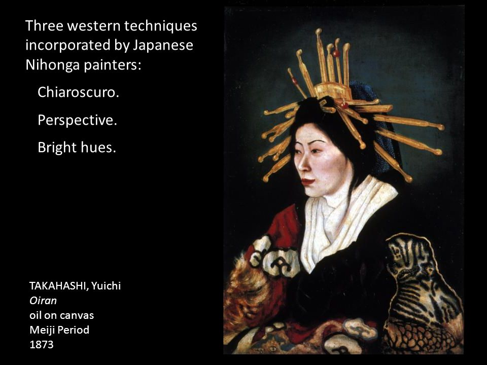 Three western techniques incorporated by Japanese Nihonga painters: