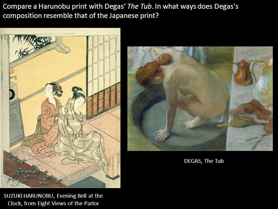 Compare a Harunobu print with Degas' The Tub