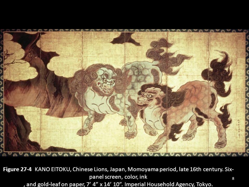 Figure 27-4 KANO EITOKU, Chinese Lions, Japan, Momoyama period, late 16th century.