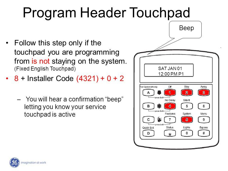 Program Header Touchpad