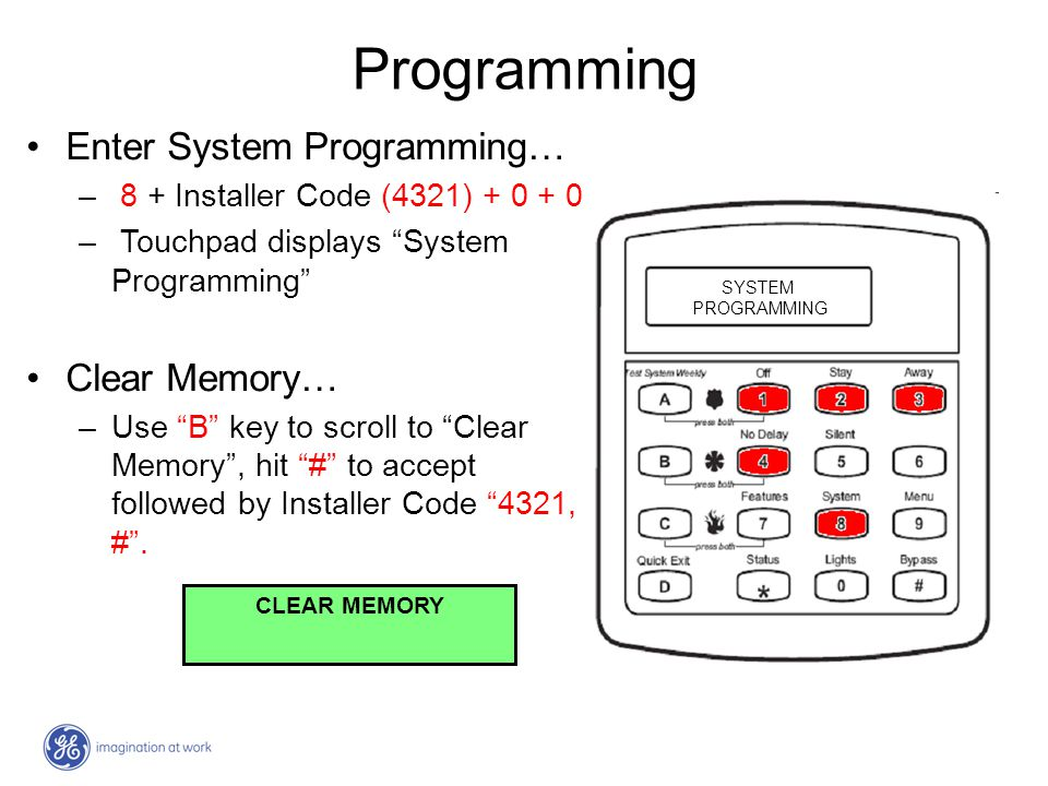 Programming Enter System Programming… Clear Memory…