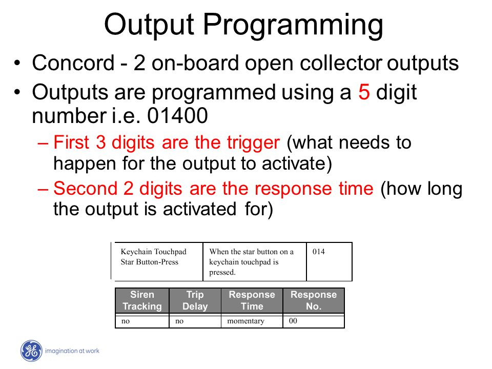 Output Programming Concord - 2 on-board open collector outputs