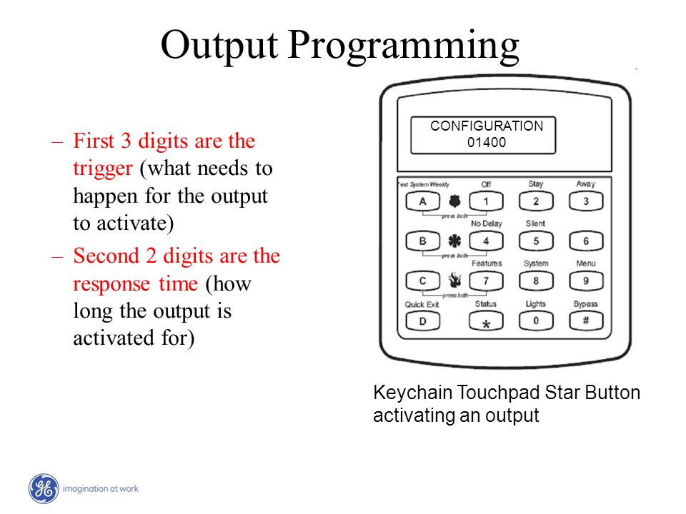 Output Programming CONFIGURATION. 01400. First 3 digits are the trigger (what needs to happen for the output to activate)