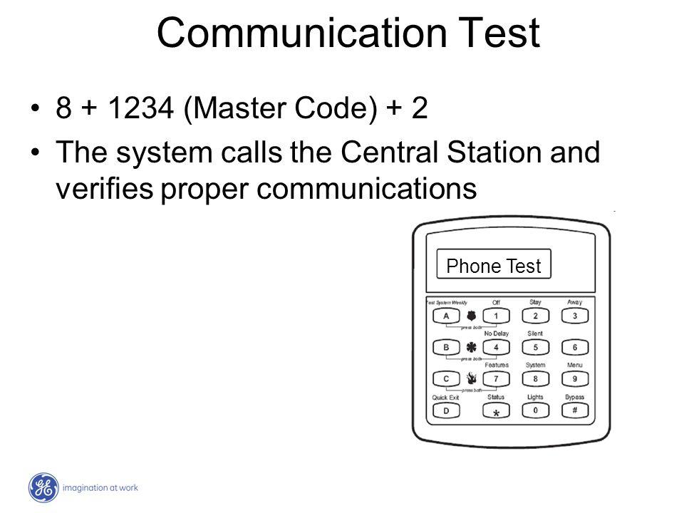Communication Test 8 + 1234 (Master Code) + 2