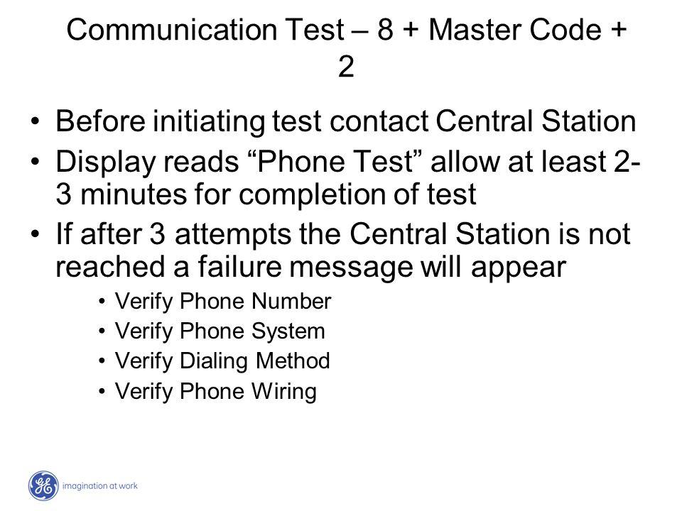 Communication Test – 8 + Master Code + 2
