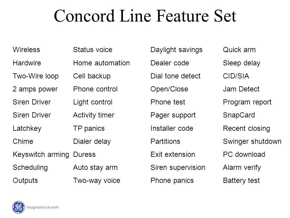 Concord Line Feature Set