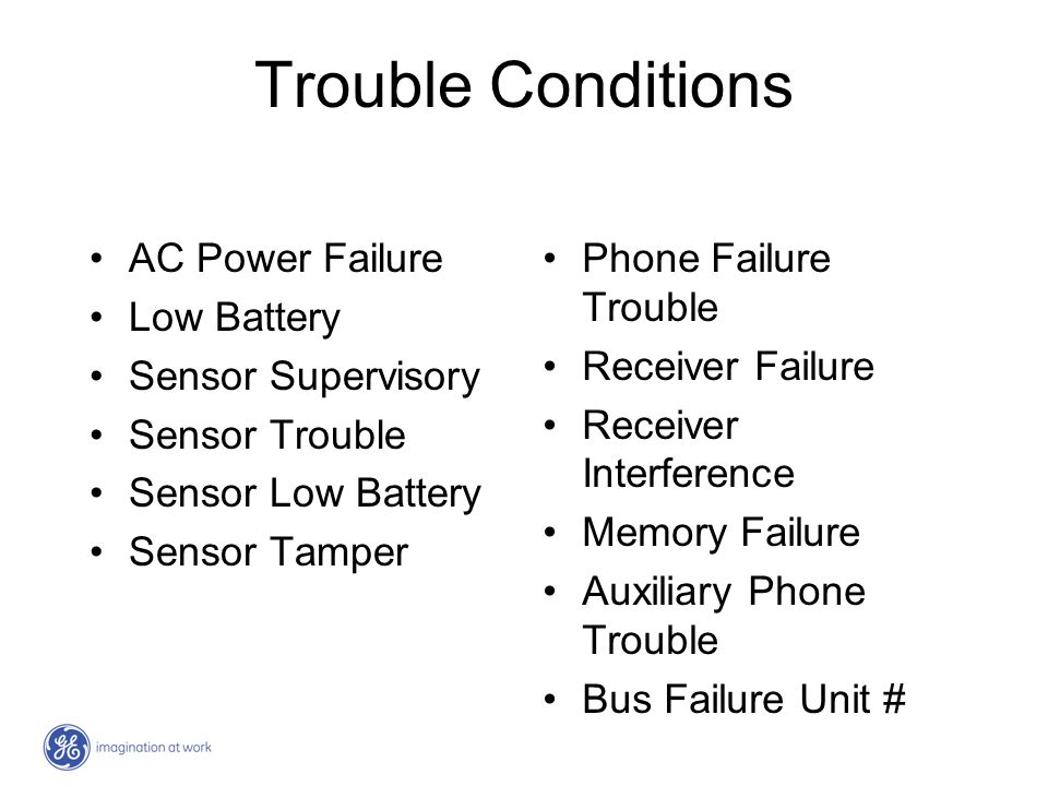 Trouble Conditions AC Power Failure Low Battery Sensor Supervisory