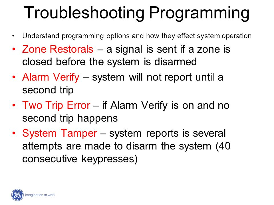 Troubleshooting Programming