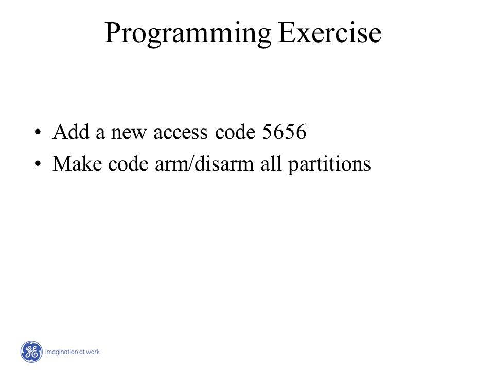 Programming Exercise Add a new access code 5656