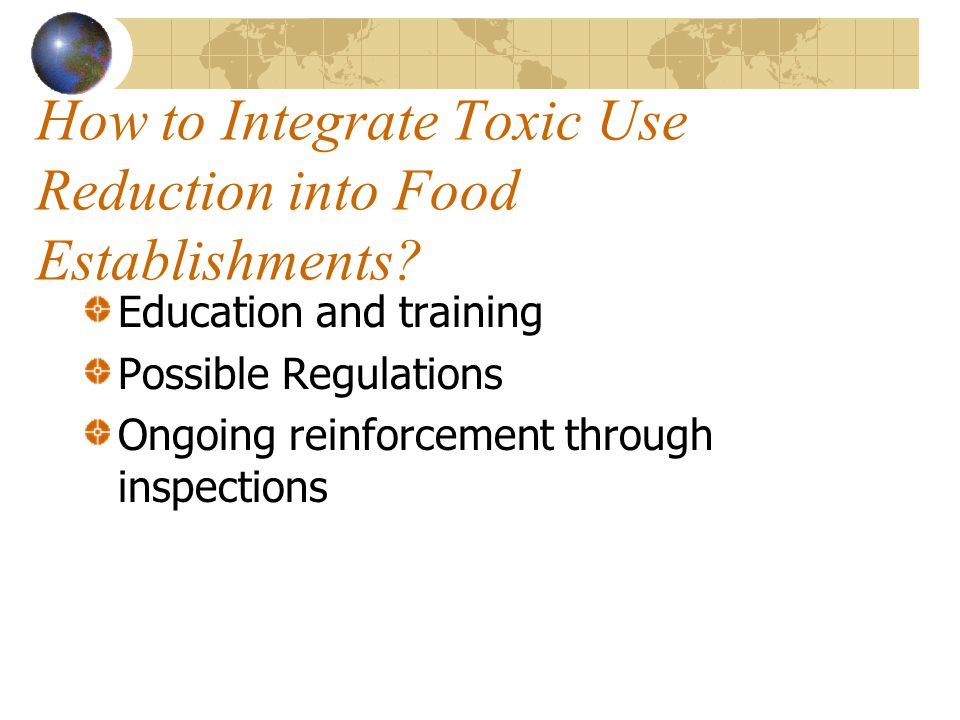 How to Integrate Toxic Use Reduction into Food Establishments