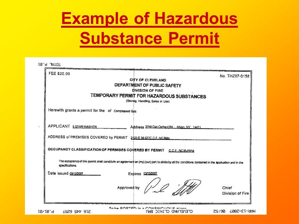 Example of Hazardous Substance Permit