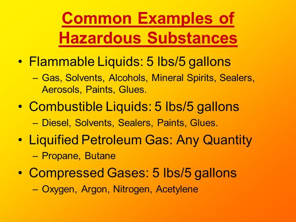 Common Examples of Hazardous Substances