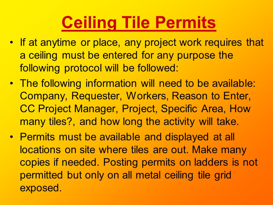 Ceiling Tile Permits