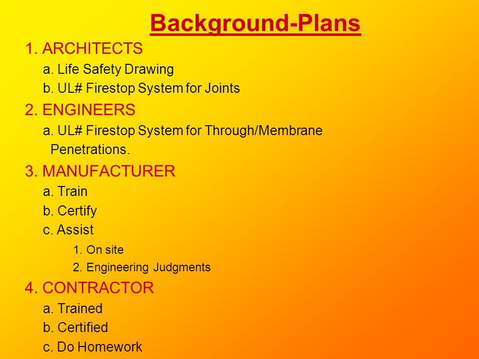 Background-Plans 1. ARCHITECTS 2. ENGINEERS 3. MANUFACTURER
