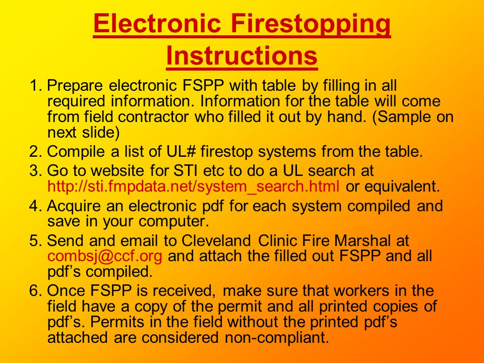 Electronic Firestopping Instructions