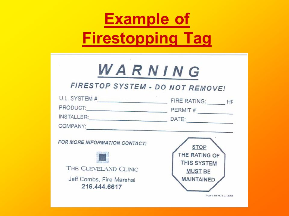 Example of Firestopping Tag