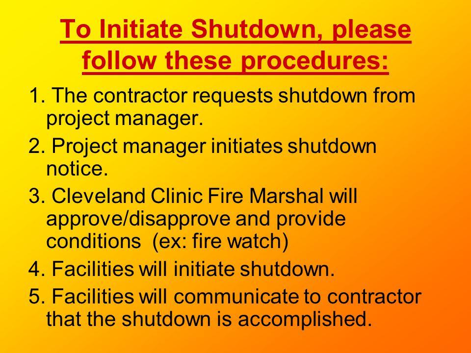 To Initiate Shutdown, please follow these procedures: