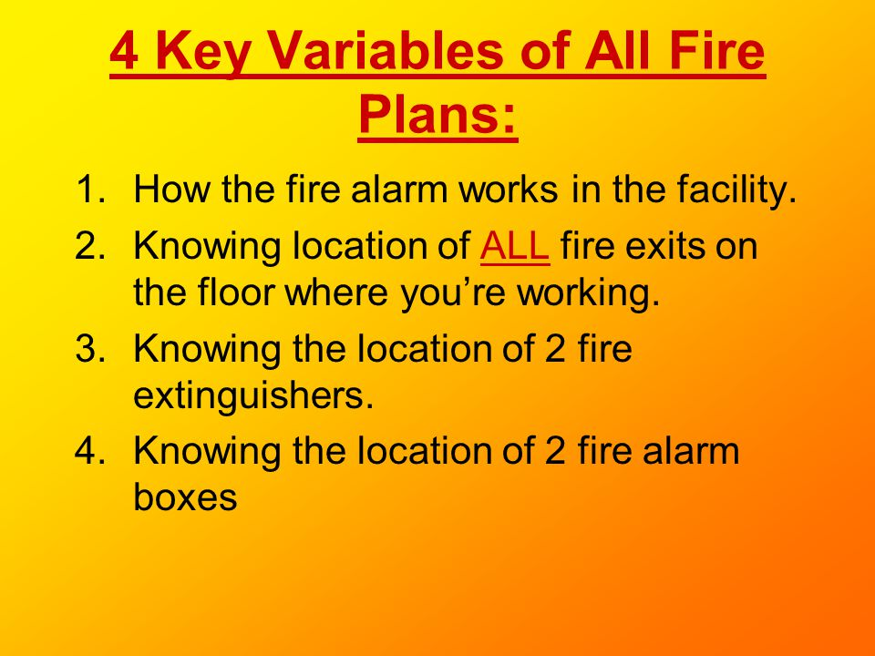 4 Key Variables of All Fire Plans: