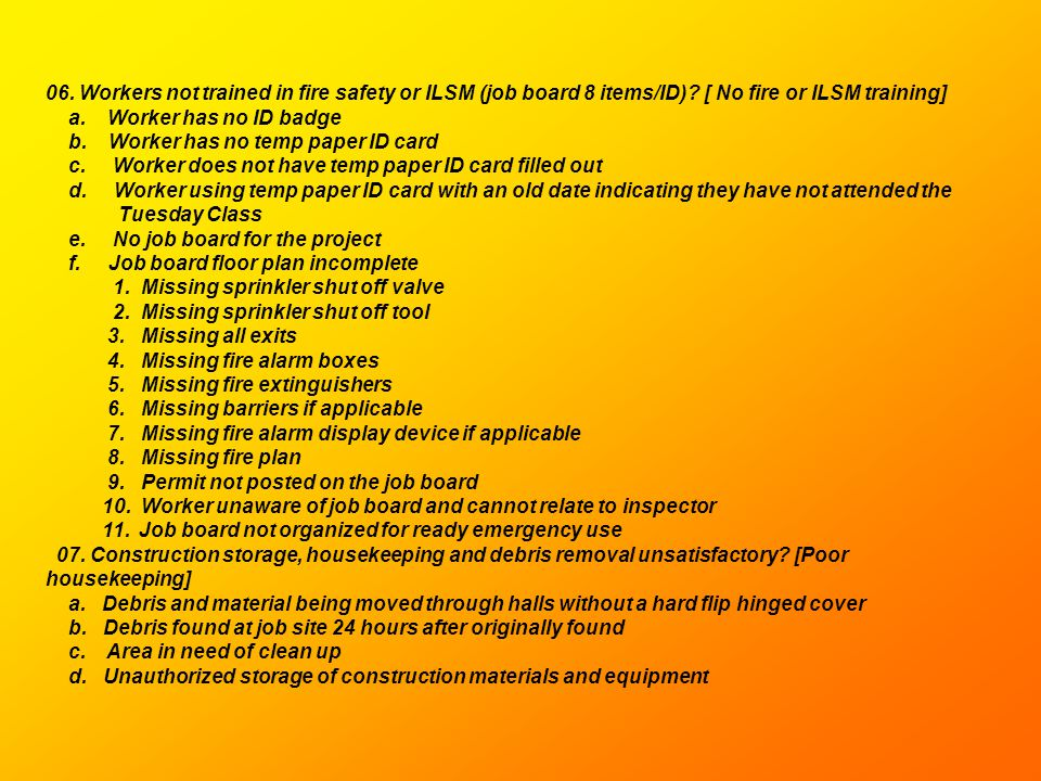 06. Workers not trained in fire safety or ILSM (job board 8 items/ID)