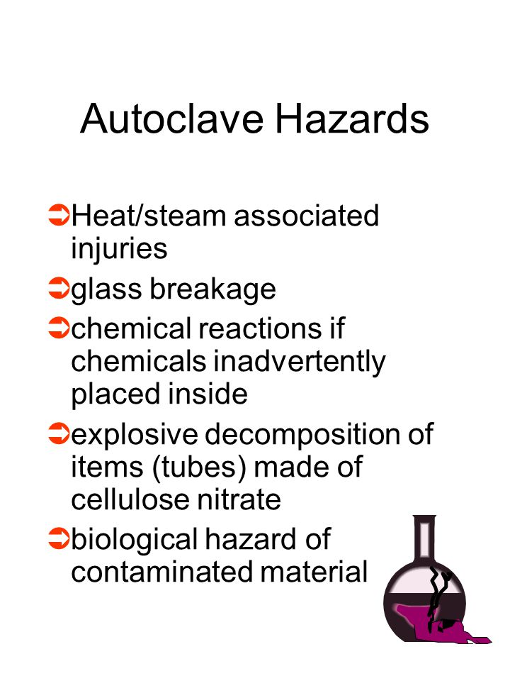 Autoclave Hazards Heat/steam associated injuries glass breakage