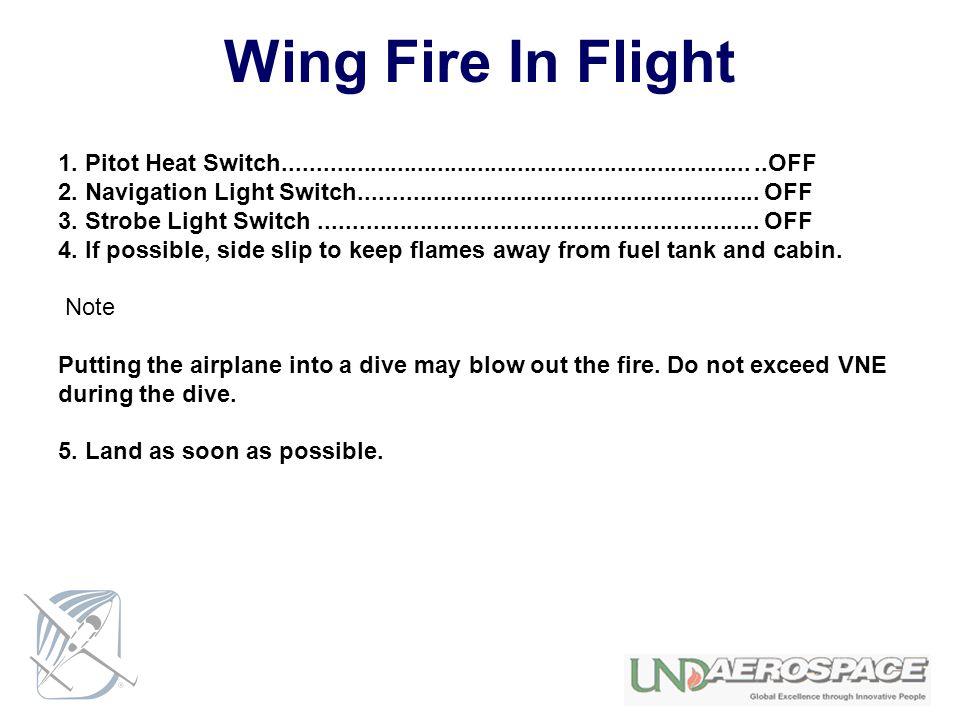 Wing Fire In Flight 1. Pitot Heat Switch...................................................................... ..OFF.