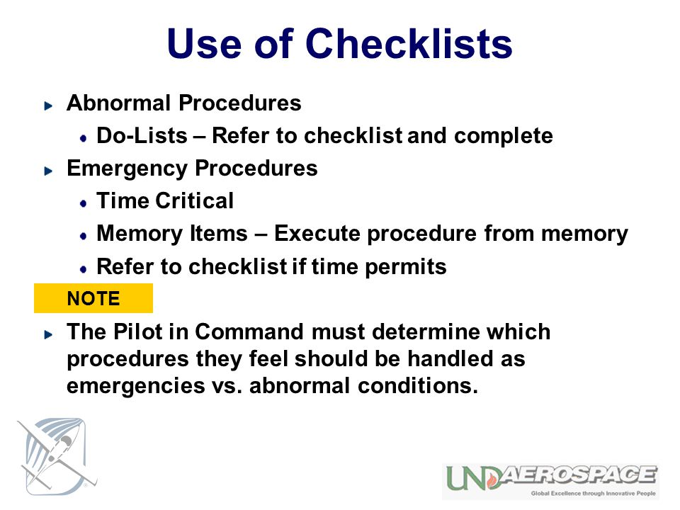 Use of Checklists Abnormal Procedures