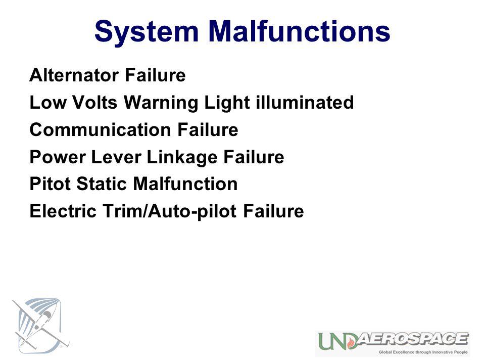 System Malfunctions Alternator Failure