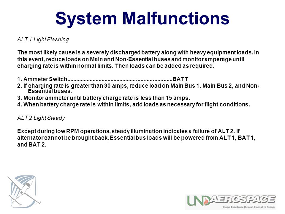 System Malfunctions ALT 1 Light Flashing