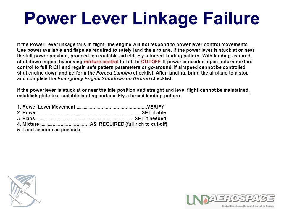 Power Lever Linkage Failure