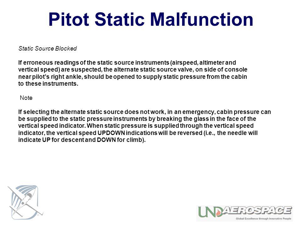 Pitot Static Malfunction