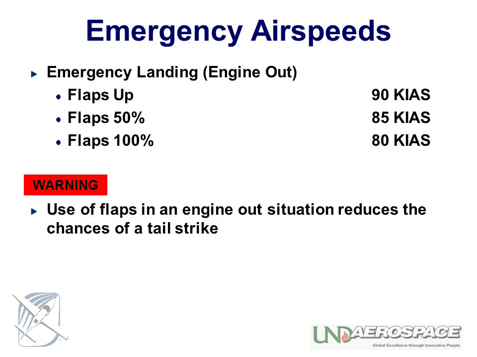 Emergency Airspeeds Emergency Landing (Engine Out) Flaps Up 90 KIAS