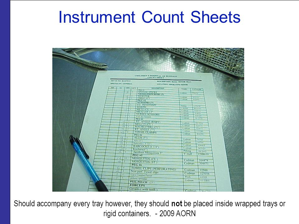 Instrument Count Sheets