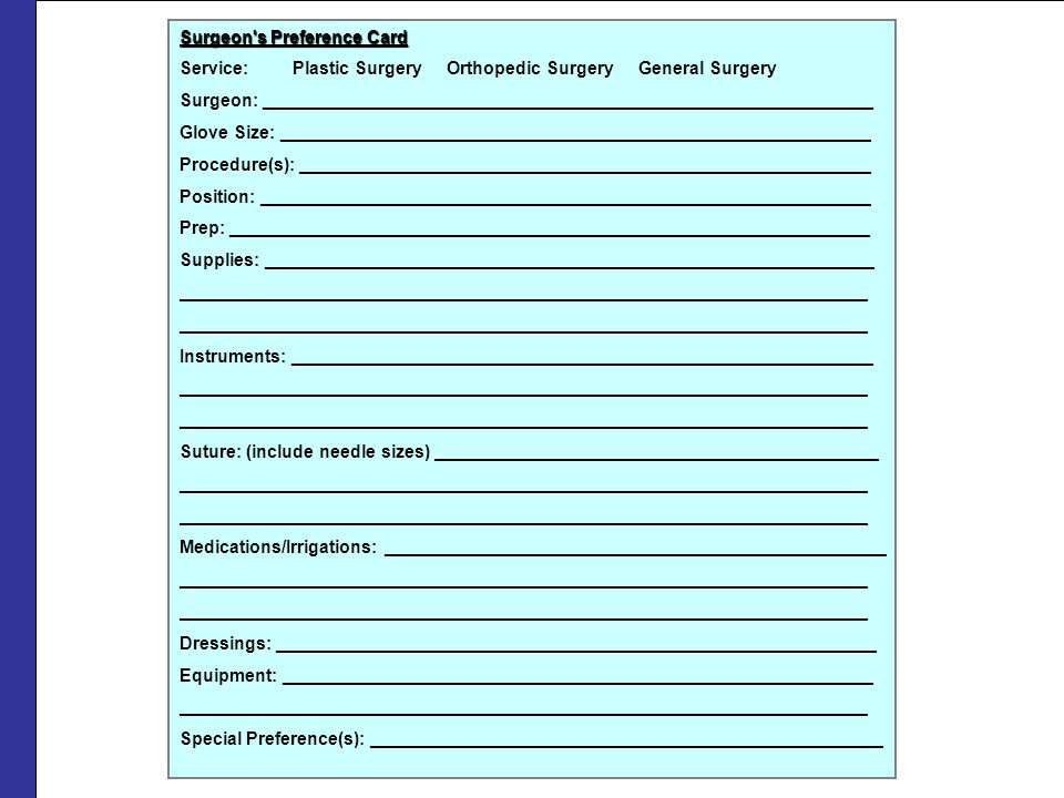 Surgeon s Preference Card