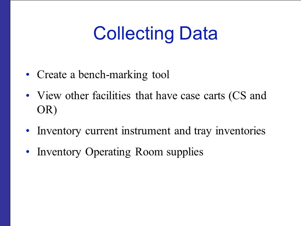 Collecting Data Create a bench-marking tool