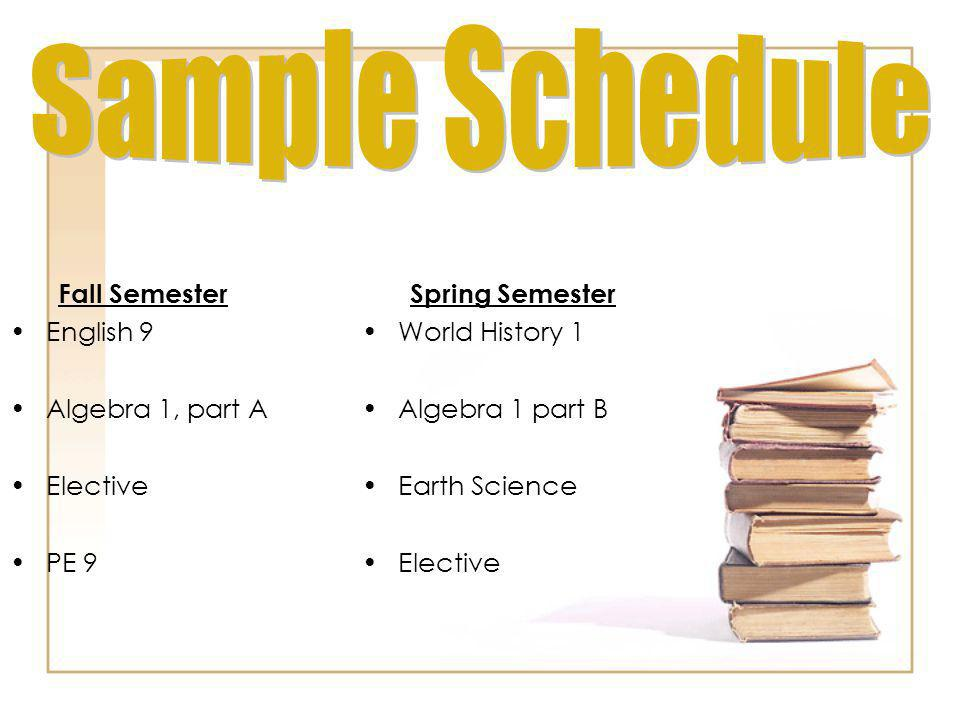 Sample Schedule Fall Semester English 9 Algebra 1, part A Elective