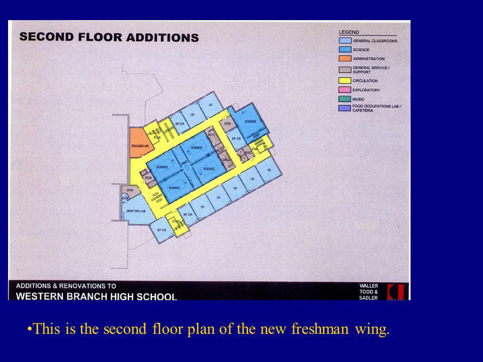 This is the second floor plan of the new freshman wing.