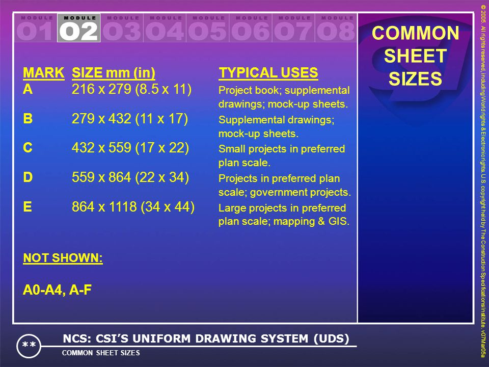 COMMON SHEET SIZES MARK SIZE mm (in) TYPICAL USES