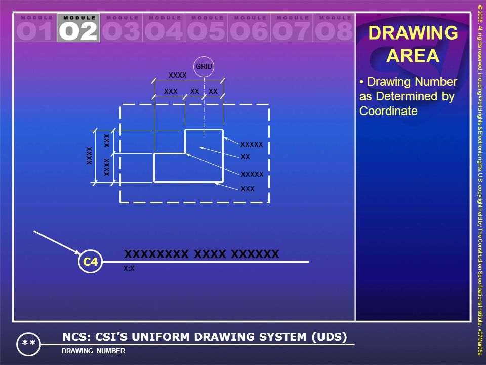DRAWING AREA Drawing Number as Determined by Coordinate