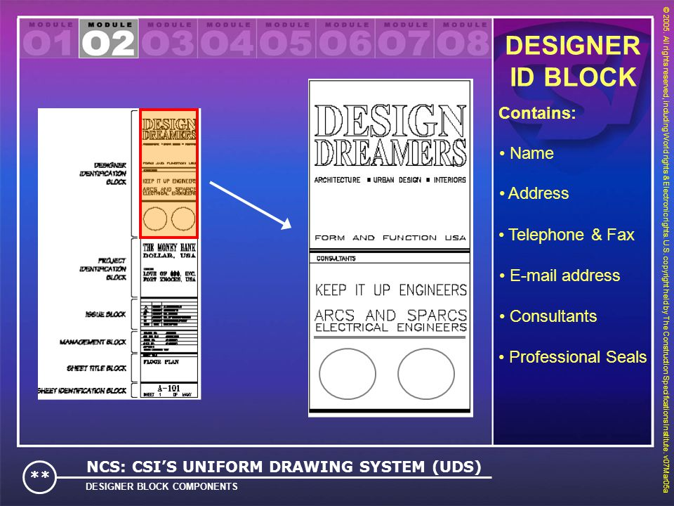 DESIGNER ID BLOCK Contains: Name Address Telephone & Fax