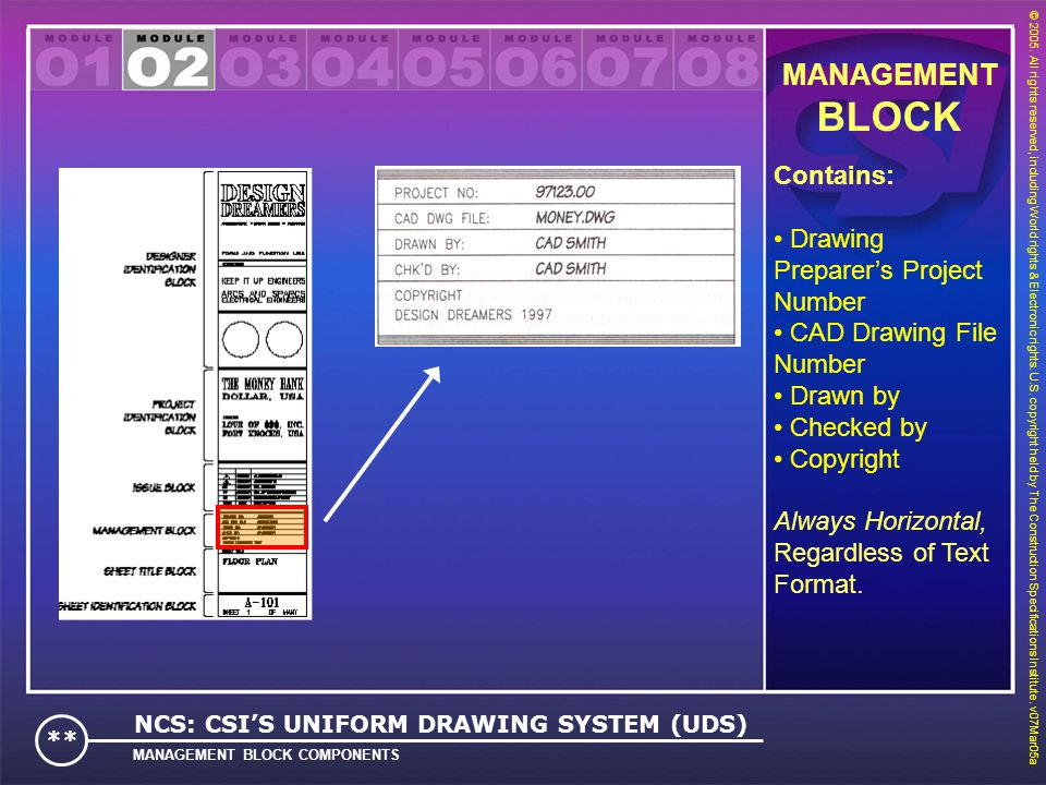 BLOCK MANAGEMENT Contains: Drawing Preparer's Project Number