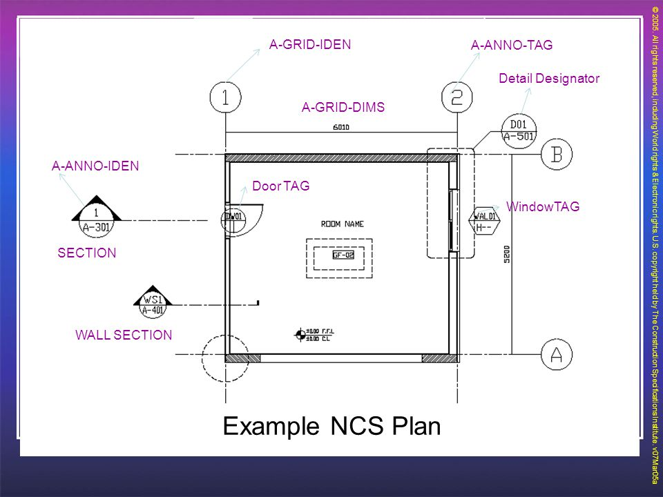 EXAMPLE Example NCS Plan A-GRID-IDEN A-ANNO-TAG Detail Designator
