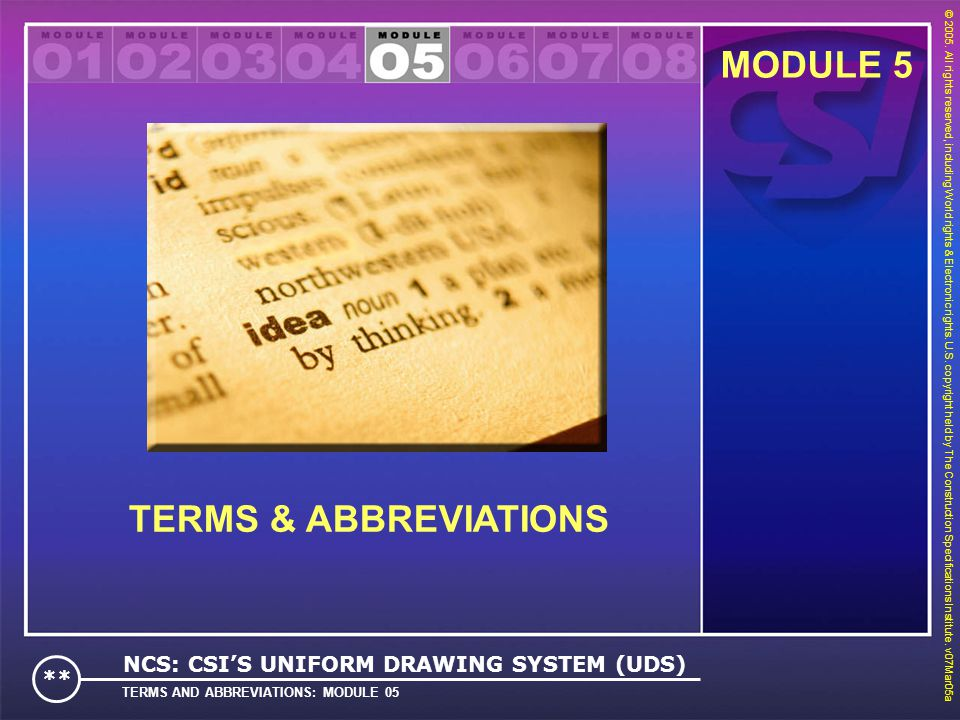 MODULE 5 TERMS & ABBREVIATIONS