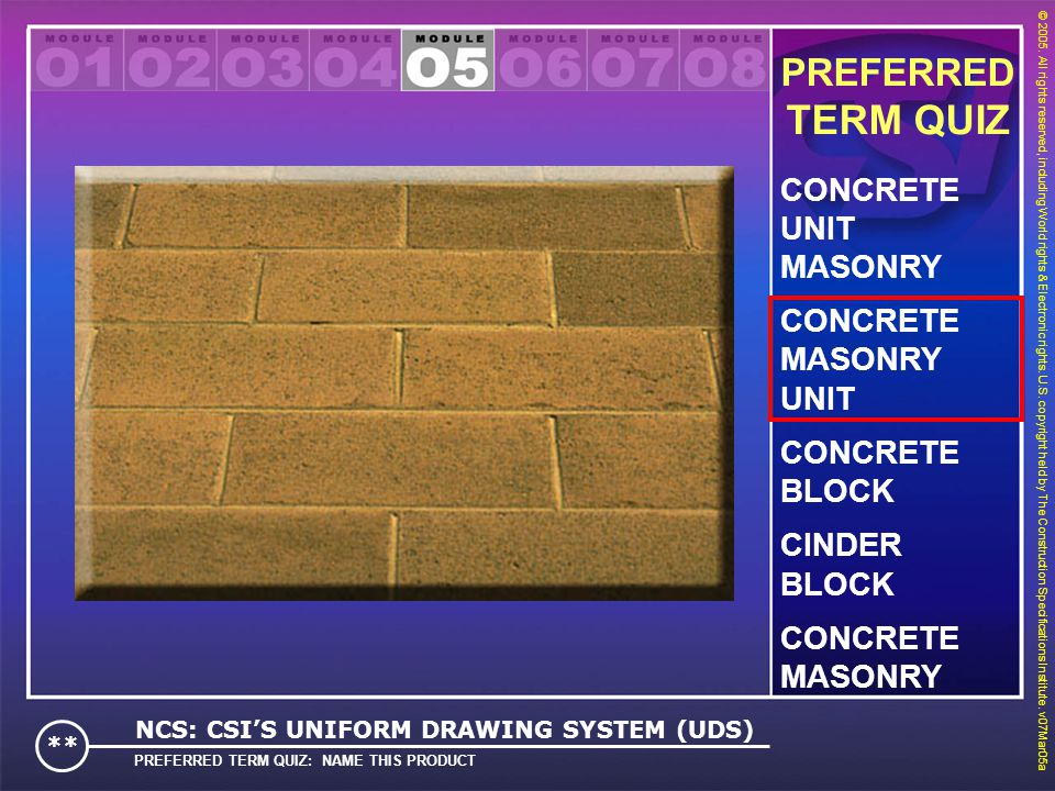TERM QUIZ PREFERRED CONCRETE UNIT MASONRY CONCRETE MASONRY UNIT